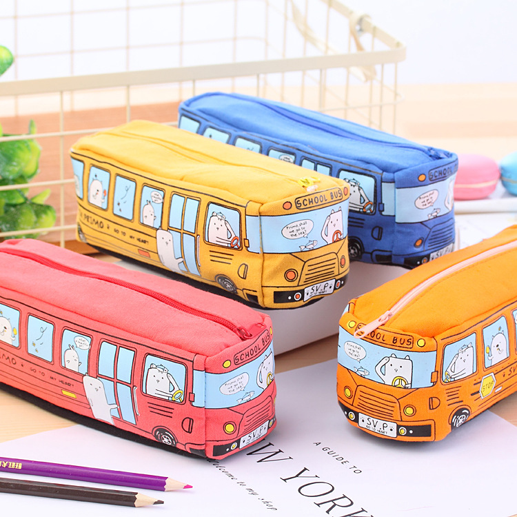 1pc Creative Large Canvas Car Pencil Case School Supplies Bus Pencil Cases Pouch Girl Boys Stationery Pen Bag Storage Holder