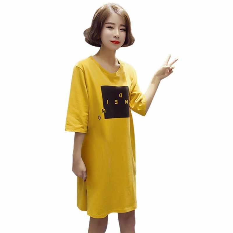 3XL verano Mujer Casual de manga corta con estampado de letras vestidos color bronce Camisetas largas sueltas de talla grande Vestido