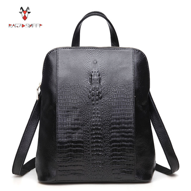 21512cc2742 US $44.88 49% OFF|Raged Sheep Women Genuine Leather Backpack 3D Crocodile  Women BackPack Daily Bags For Girls College Female Fashion Shoulder Bags-in  ...