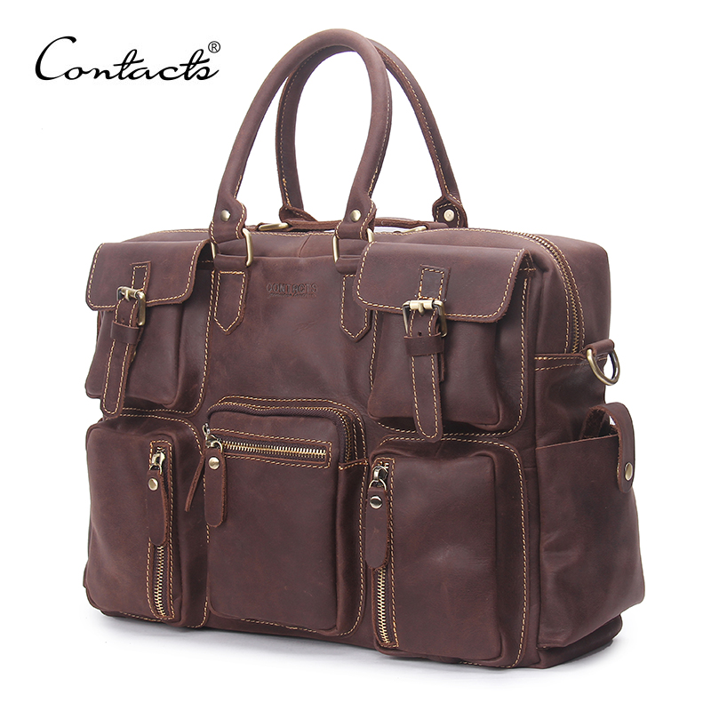CONTACT'S Vintage Crazy Horse Leather  Crossbody Bags Business Case Genuine Leather Messenger Bag Men Shoulder Bag For Male 2017 crazy horse leather messenger bag messenger bags designer crazy horse vintage small shoulder bag male genuine leather bags