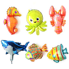 6pcs Under The Sea Inflatable Ballons Fish Octopus Seahorse Toys Foil Balloons Baby Shark Birthday Party Decoration Supplies