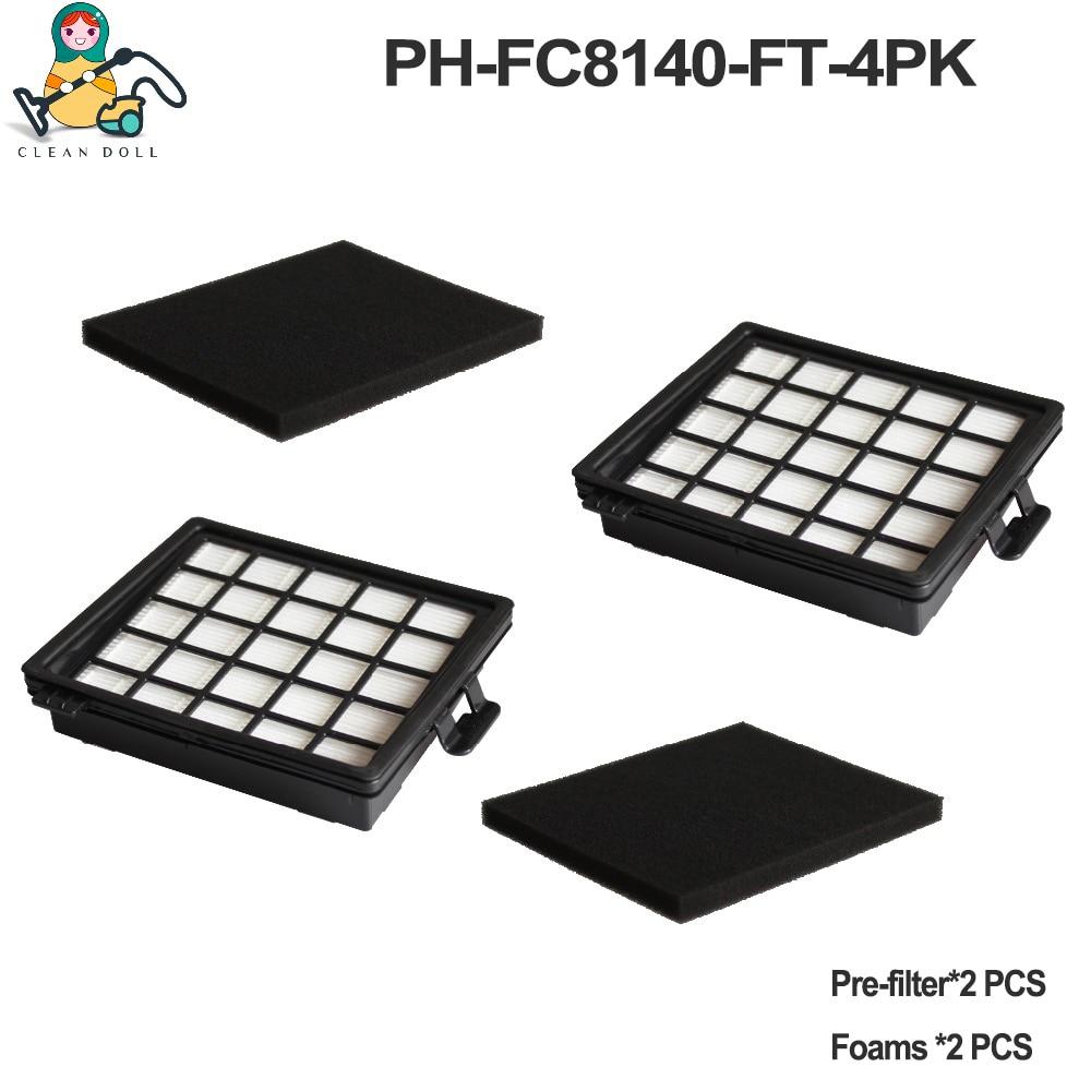 4-PACK Replacement Foam Sponge Filter For Vacuum Cleaner Philips HEPA Filter FC8140 FC8142 FC8144 FC8145 FC8146 FC8071/01
