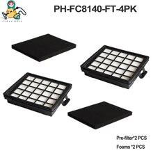 4 PACK Thay Thế Bọt Xốp Lọc cho máy hút bụi Philips bộ lọc HEPA FC8140 FC8142 FC8144 FC8145 FC8146 FC8071/ 01