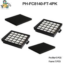 Filtro de esponja de espuma de repuesto para aspiradora Philips paquete de 4 filtros HEPA FC8140 FC8142 FC8144 FC8145 FC8146 FC8071/01