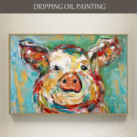 Free Shipping Funny Design Hand painted Pig Head Oil Painting on Canvas Textured Knife Modern Abstract Cartoon Pig Oil Painting
