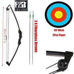 PG1ARCHERY Hitam Anak-anak Senyawa Busur dan Anak Panah Set Memanah Praktek Pemuda Longbow Olahraga Mainan Anak Busur Kit Longbow