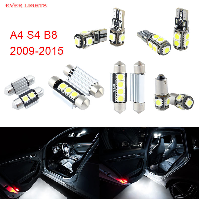 14pcs LED Canbus Interior Lights Kit Package For Audi A4 S4 B8 (2009-2015) free shipping 60 17x a4 s4 b5 1998 2001 white led lights interior package kit canbus