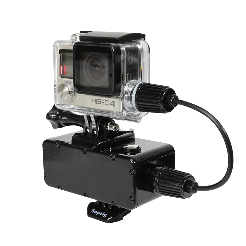 5200mah Waterproof External Power <font><b>battery</b></font> + Skeleton Housing Case with Cable for <font><b>Gopro</b></font> <font><b>Hero</b></font> <font><b>4</b></font> 3+ 3 Cameras Diving Accessories image