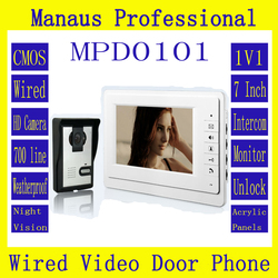 Professional 7 TFT LCD Wired Night Visual Home Security Monitor Outdoor Camera Video Door Phone Doorbell Intercom System D101a
