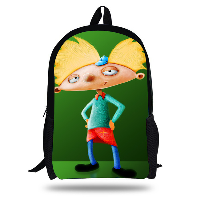 87a93071a0ab 16inch Newest Hey Arnold Design Cartoon Daily Casual Backpack Set For Teenage  Children School bags Boys Girls Bookbag