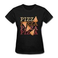 Gildan Nova Moda Amantes de Pizza Party T Camisas Das Mulheres Curto Algodão de manga comprida Eu Amo Pizza tshirt Camisetas Casuais Tee Feminino topos