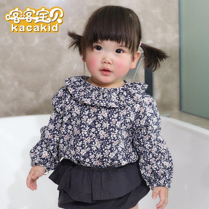 1418d7385036 Kacakid new baby girls clothing sweet girl doll collar T-shirt children  cotton long-sleev shirt Princess sweater