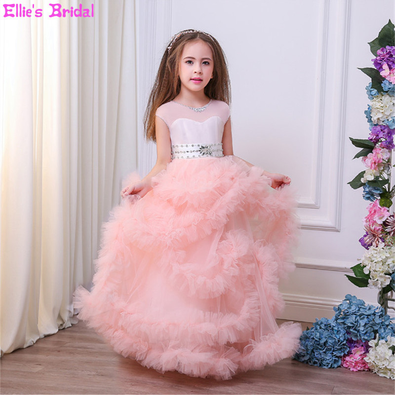 Princess Flower Girl Dresses Ruffles Tulle Kids Formal Dress Wedding Party Pageant Ball Gowns For Girls First Communion Dresses 2017 kids girls wedding flower girl dress princess party pageant formal dress crossed back sleeveless lace tulle dress 2 14y