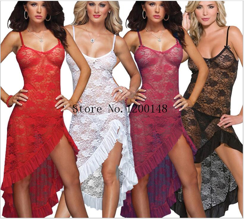 Summer Lace Sexy Lingerie Costumes Women's Sex Underwear Nightdress Deep V Transparent Nightgown G-string Sleepwear