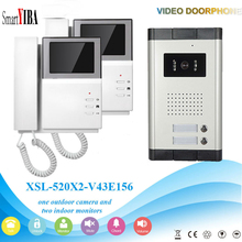 SmartYIBA 4.3″Access Entry Security Kit Video Door Phone For 2 Units Apartment Video Intercom Door Camera With 2 Buttons