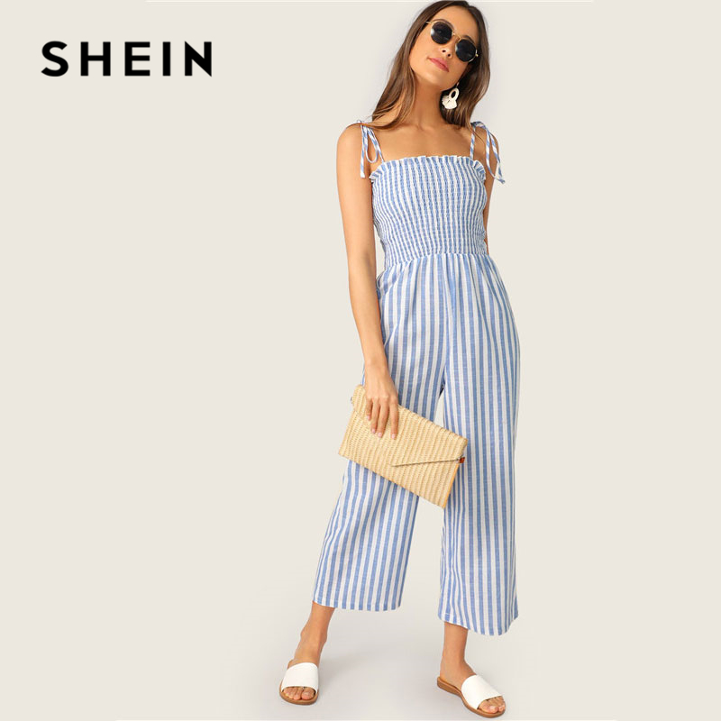 SHEIN Two Tone Knot Shoulder Frill Smocked Striped   Jumpsuit   Women Boho Beach Spaghetti Strap Sleeveless Wide Leg Summer   Jumpsuit