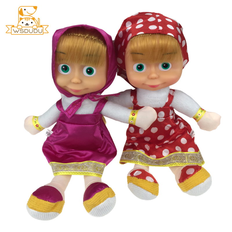 Cute Masha Girls Anime Cartoon Dolls Plush Stuffed Toys Russian Princess Adorable For Children Gifts Beautiful Baby Sister Kids
