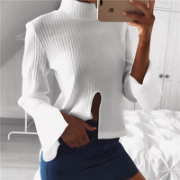 Casual Cotton Tshirt Loose Crop Top Flare Sleeve 2017 New Spring T Shirt Women Long Sleeve