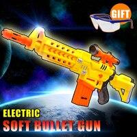 Eléctrico Suave pistola de Juguete de Regalo de Navidad Kid airsoft pistola de aire outdoor fun sports CS juego juguetes pistola de Regalo Gafas de airsoft pistola