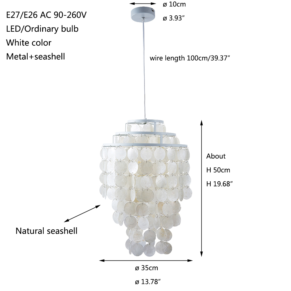 Schelp Lamp 3 Circle Diy Modern White Natural Seashell Pendant Lamp Fixture E27 Lights Dia 35cm Shell Lamps For Bedroom Home Living Room