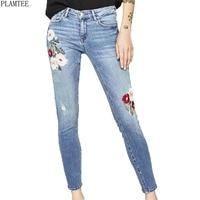 Flowers Embroidered Women Jeans 2017 Slim Fit Pencil Pants Retro Vaqueros Mujer Pluis Size Pantalon Femme