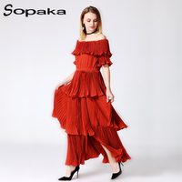 2018春高品質のファッション赤いスラッシュネックバタフライスリーブフリルドレープロングドレス滑走路デザイナーマキシ女