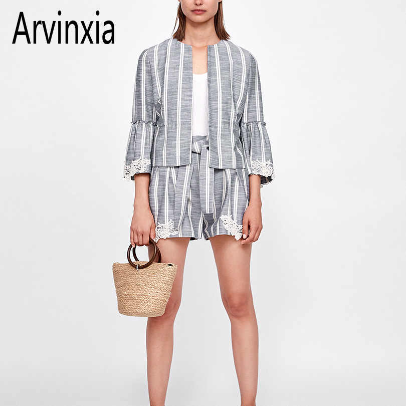 Arvinxia ZA Casual Floral Appliques Striped Woman Blazers Vintage Open Front Office Lady Coat Summer Autumn O Neck Femme Outwear