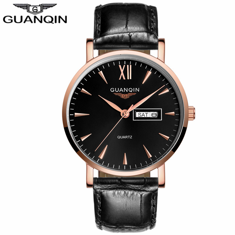 ФОТО GUANQIN GS19033 Fashion Men's Watches Brand Week Date Waterproof Sport Casual Leather Strap Wristwatches Relogio Masculino