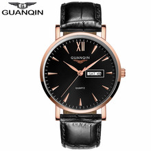 GUANQIN GS19033 Fashion Men's Watches Brand Week Date Waterproof Sport Casual Leather Strap Wristwatches Relogio Masculino