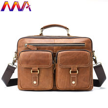 MVA Genuine Leather Men Casual Briefcase Fashion Business Men`s Messenger Bag Men Casual Handabag Laptop Shoulder Bag(China)