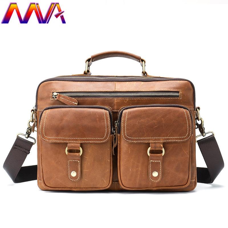 MVA Genuine Leather Men Casual Briefcase Fashion Business Men`s Messenger Bag Men Casual Handabag Laptop Shoulder Bag