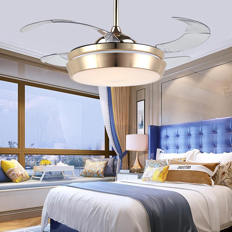 Self-Conscious Modern Ceiling Fan Remote Control 42 Inch Invisible Hanging Fans Foldable Gold Ceiling Fans With Lights Living Bed Kids Room