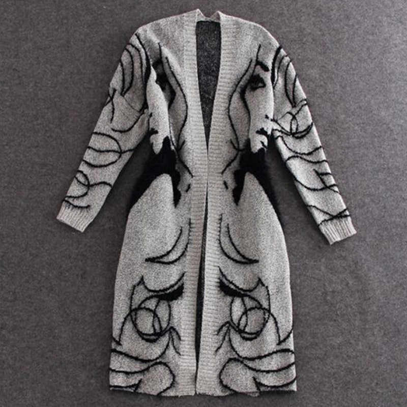 Знак в весенне-осенний период и абстрактный дизайн более свободный свитер летучая мышь кардиган длинный свитер пальто