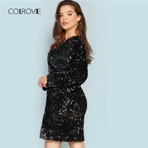 Image 2 - COLROVIE Plus Größe Schwarz V ausschnitt Pailletten Mädchen Sexy Kleid Frauen 2018 Herbst Langarm Party Kleid Elegante Abend Mini kleider