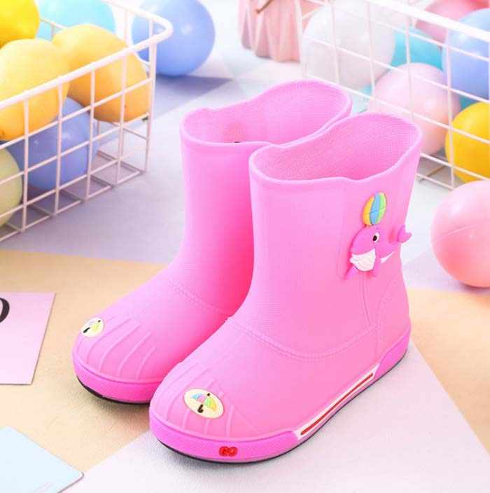 MXHY ใหม่แฟชั่นคลาสสิกรองเท้ายาง PVC เด็กทารกการ์ตูนรองเท้าเด็กรองเท้ากันน้ำฝน Boots30-35