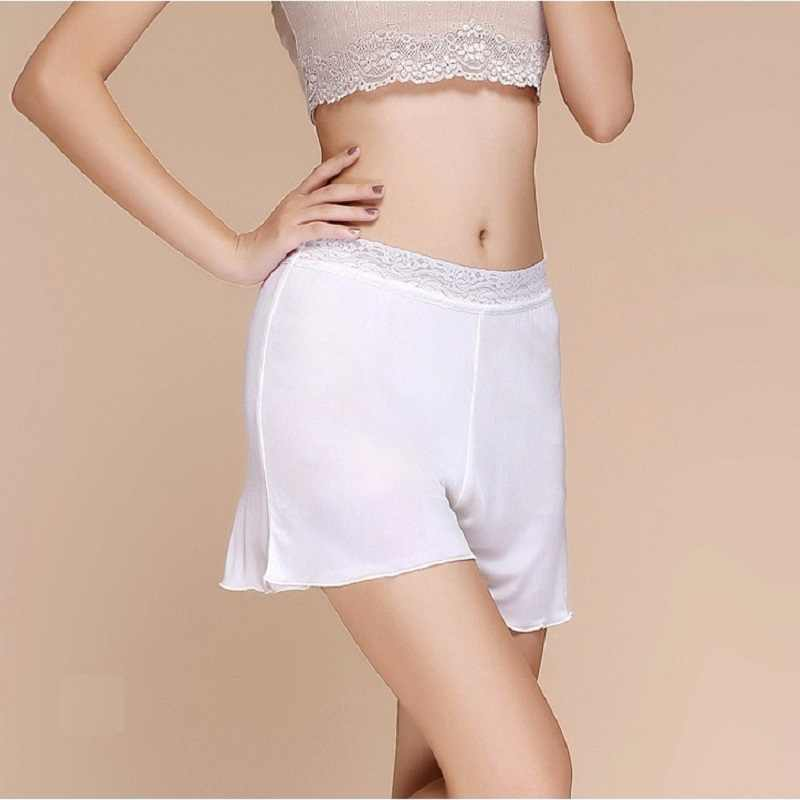 elegant in style classic low cost 100% Silk Women's Safety Short Pants Femme Underpanst Women Black White  Loose Sexy Lace Woman Panties Female Knickers