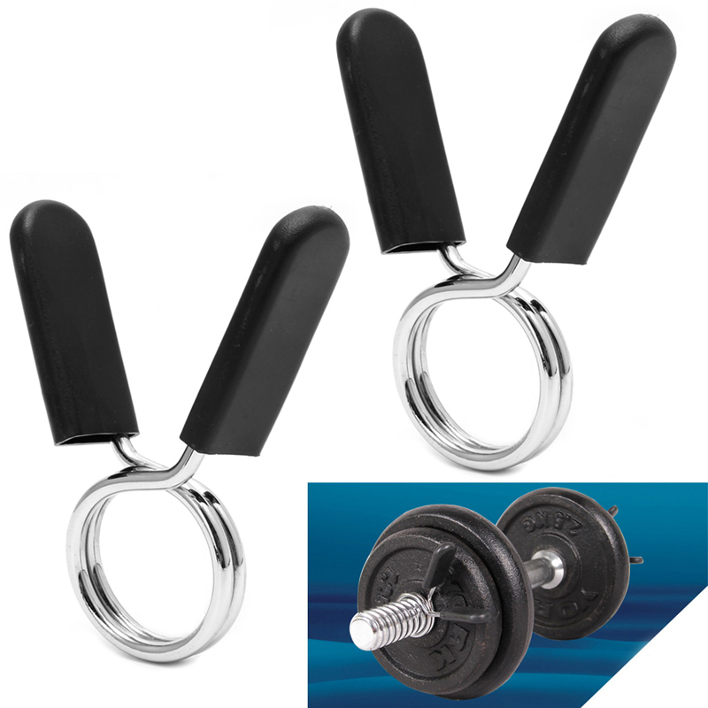 Galleria fotografica 2Pcs 28mm Barbell Gym Weight Lifting Bar Dumbbell Lock Clamp Spring Collar Clips