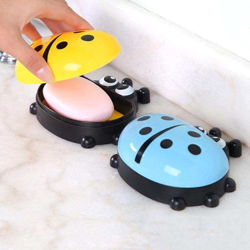 FHEAL Cute Ladybug Soap Box Badeværelse Aftap sæbeholder Køkken - Hjem opbevaring og organisation - Foto 4