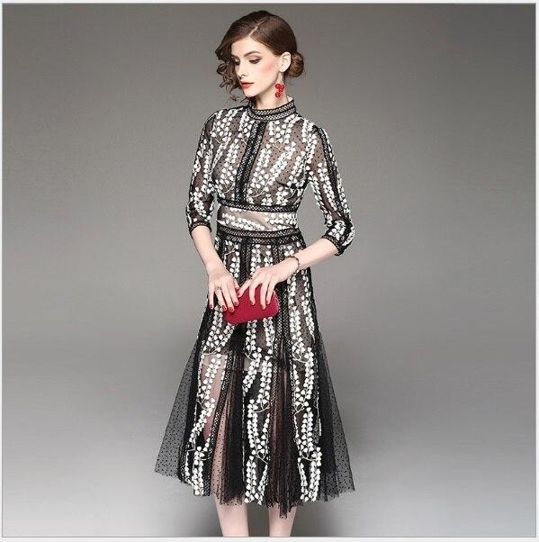 Women Dress 2018 Spring Boho Stand Collar Three Quarter Sleeve Dresses Floral Embroidery Mesh Vestido 1713502 Feminina Vestidos