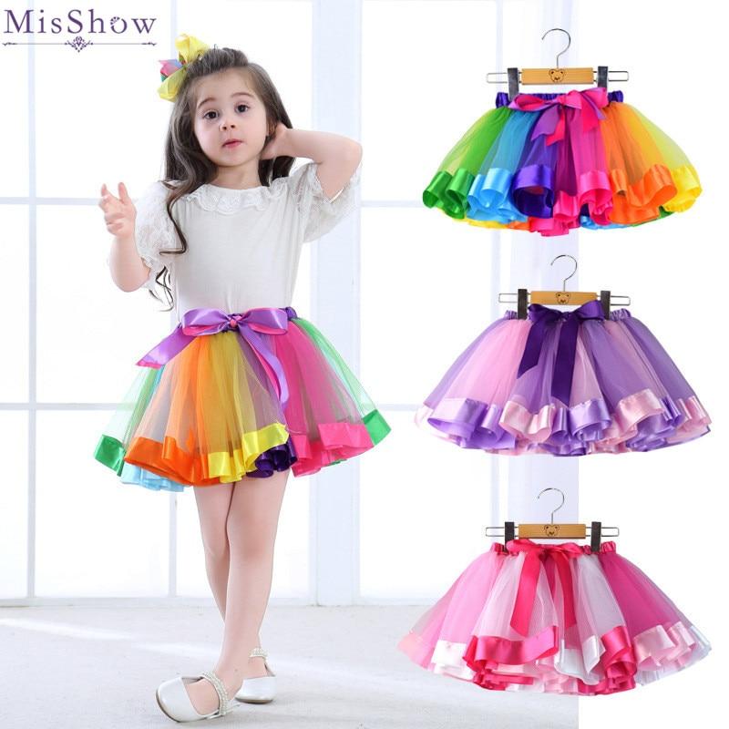 e444170c5 MisShow 3 colores Arco Iris falda de tul de bebé faldas Tutu Faldas niños  enagua una capa Puffy falda 2019 vestido menta