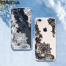 Роскошный силиконовый чехол для телефона для iPhone 8, 7, 6, 6s Plus, 5S чехол s, 3D кружевной цветок, мягкий ТПУ чехол для iPhone X XS, чехол для MAX XR