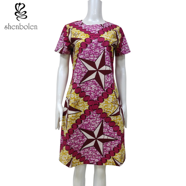 African Dresses For Women Dashiki Clothing Batik Print Short Sleeve ...