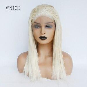 V'NICE, платиновый блонд, волосы без клея, синтетические кружевные передние парики с детскими волосами для белых женщин, короткие волосы, жарос...