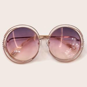 Image 4 - Nieuwe Stijl Ronde Zonnebril Vrouwen Luxe Merk Designer Grote Metalen Frame Zonnebril Vrouwelijke Shades 2019 Fashion Outdoor Eyewear