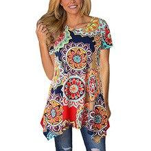 2019 Summer Tees Fashion Printing Irregular Womens T-shirt Short-sleeved O-neck Long T-shirts Large Size Women Top Streetwear