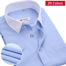 Полосатой формальный рубашке летние коротким дышащий хлопка рубашки марка мужские рукавом