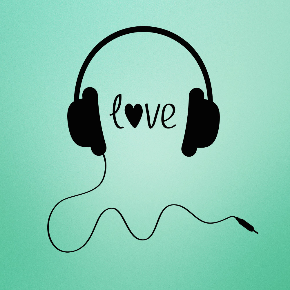 Love Music Headphones Decal Love For Music Wall Decal Home