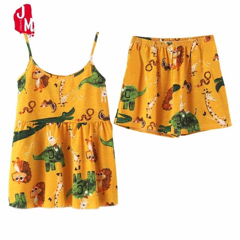 Summer Cotton Short Pajamas Sets Women Sexy Spaghetti Strap Pyjama Floral Cute Nightdress Cotton Cami Top And Shorts Pijama Set