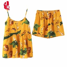 купить Summer Cotton Short Pajamas Sets Women Sexy Spaghetti Strap Pyjama Floral Cute Nightdress Cotton Cami Top And Shorts Pijama Set по цене 401.24 рублей