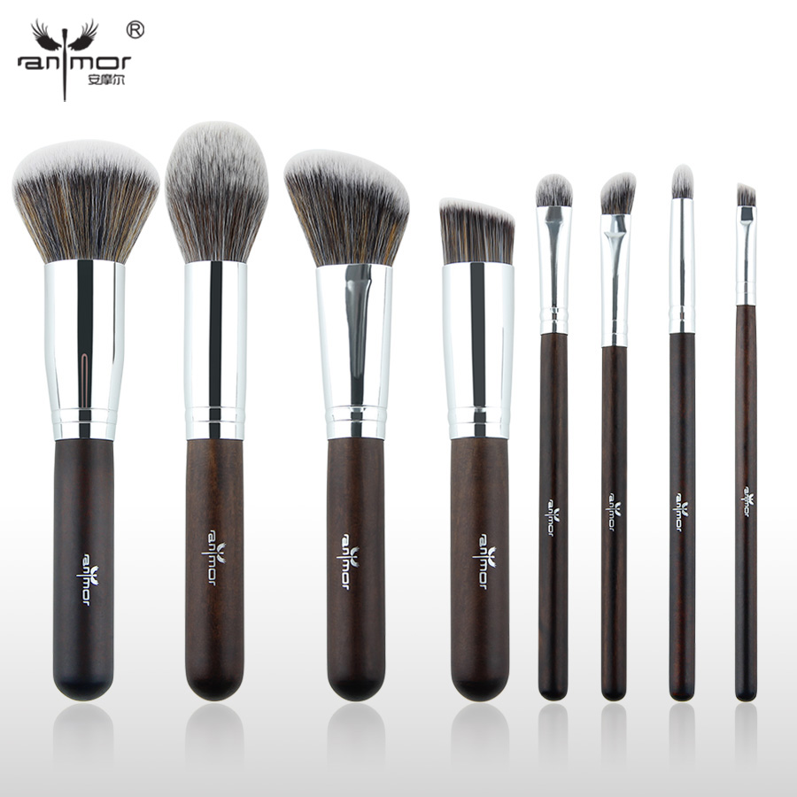 Anmor Essential Makeup Brushes 8 PCS Make Up Brushes Set Synthetic Starter Makeup Tools GR003 anmor make up brushes professional powder duo fibre eyeshadow makeup tool synthetic makeup brushes set with black bag